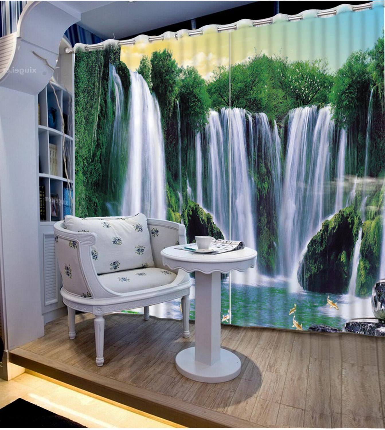 3D curtain customize grommet blackout curtains Waterfall water living room bedroom home windows curtains3D curtain customize grommet blackout curtains Waterfall water living room bedroom home windows curtains