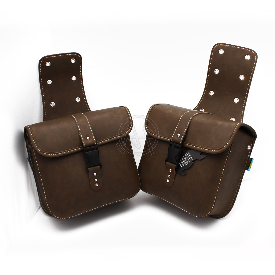 1Pair Old School Retro Brown PU Leather Saddle Bag Motorcycle Luggage Side Tool Bag Quick Release Buckle For Harley Cafe Racer