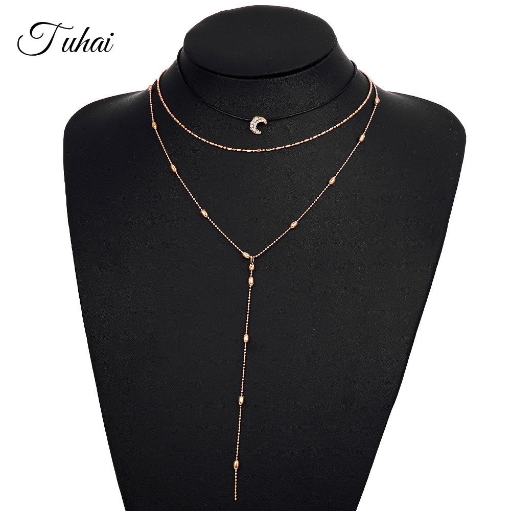 New Moon Crystal Beads Long Chain Drop Pendant Multilayer Necklace for Women Beach Jewelry Rope Handmade Necklaces