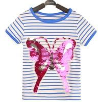 Nueva moda manga corta T camisas para niños raya mariposa camiseta algodón 1-5 año embroma tops Tees ropa