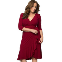 2017 New Fashion V Neck Sexy Party Plus Size Office Dress Big Size 5XL 6XL Tunics