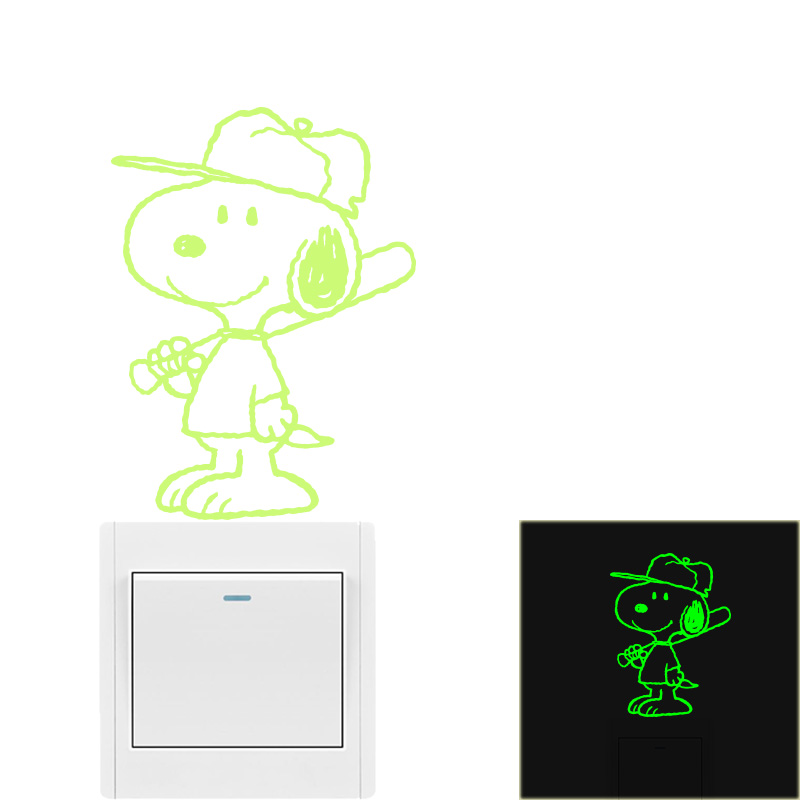 Muyuchunhua Cartoon Dog Wall Sticker Small Size Luminous Glow In The Dark Swtich Stickers for Kids Room Decor Animal Wall Decals