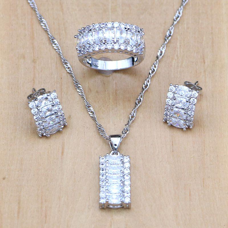 Ensembles de bijoux en cristal blanc mystique 925 bijoux en argent Sterling pour femmes boucles d'oreilles/pendentif/collier/bague Boite Cadeau gratuite