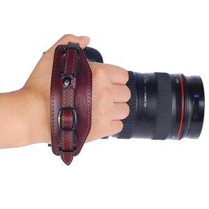 Image 2 - جلد طبيعي حزام اليد حزام DSLR كاميرا قبضة المعصم اليد حزام مع لوحة الإفراج السريع لكانون نيكون بنتاكس سوني.