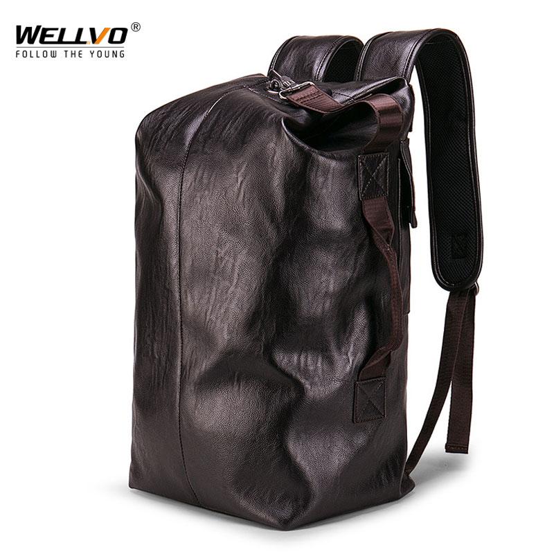 Hot Male Water Resistant Backpack Leather Trip Men Large Capacity Travel Backpack School Rucksack Black Back Bag Mochila XA114ZC