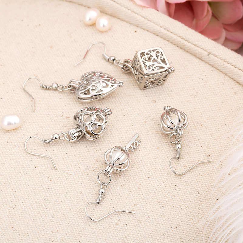 真珠のケージイヤリングジュエリー所見ケージサークルエッセンシャルオイルディフューザーロケットためカキ真珠女性ガールギフト