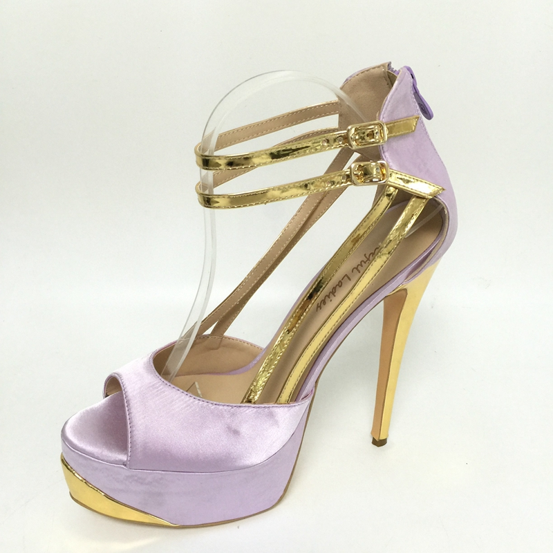 Lilac Satin Platform Sandals Super High Heels Open Toe Cover Heels Summer Shoes Sandalias Plataforma Woman Shoes 2017 Summer цены онлайн