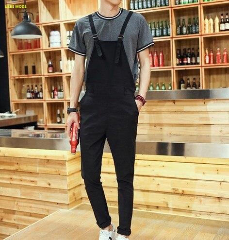 100% Wahr 2017 Herren Overall Schwarz Blau Mode Bib Overalls Ankle Länge Casual Strumpf Hosen Männer Strampler Pantalon Homme Letzter Stil