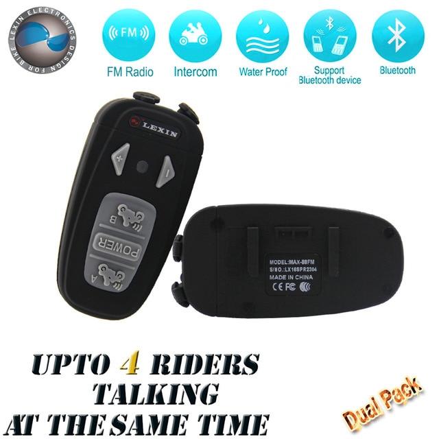 2 PCS! Mais Novo 2016!! Para 4 cavaleiro falam ao mesmo tempo! 1500 M Motocicleta BT Bluetooth Interphone Headsets Helmet Intercom com Rádio FM