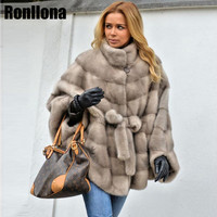 2018 New Real Mink Fur Coat Stand Collar Bat Sleeved Womens Coat Fur Real Jacket Genuine With Belt Overcoat Winter Warm MKW 102