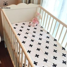 Baby Bed Fitted Sheet 1pcs 130x70x10cm 5 Designs Baby Crib Sheet 100% Cotton Black And White Baby Bed Sheet Style For Boys Girls(China)