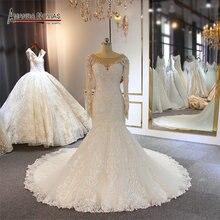 Long sleeves full lace wedding dress mermaid 2019 wedding gown