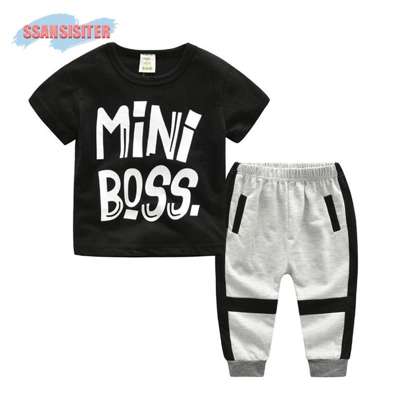 2PCS Boys Clothes Suits Letter Sports Children Short Sleeve T Shirt +Long Pants Sets Kids Cotton Baby Black Sets Clothing
