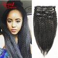 8A Clip en Extensiones de Cabello Humano Kinky Clip Recto En Extensiones de cabello 7 Unids Mongol Italiano Yaki Grueso Pelo Clip Ins humanos