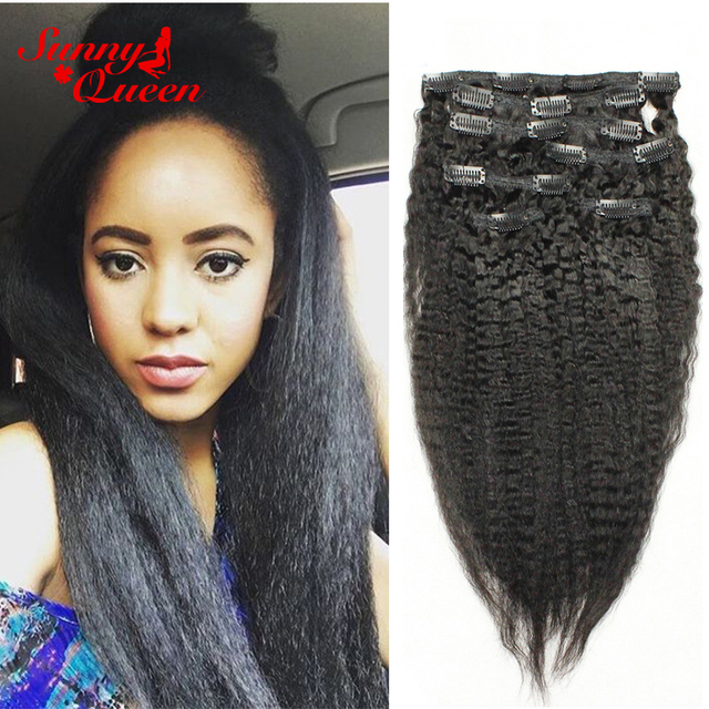 8a Clip In Human Hair Extensions Kinky Straight Clip In Hair