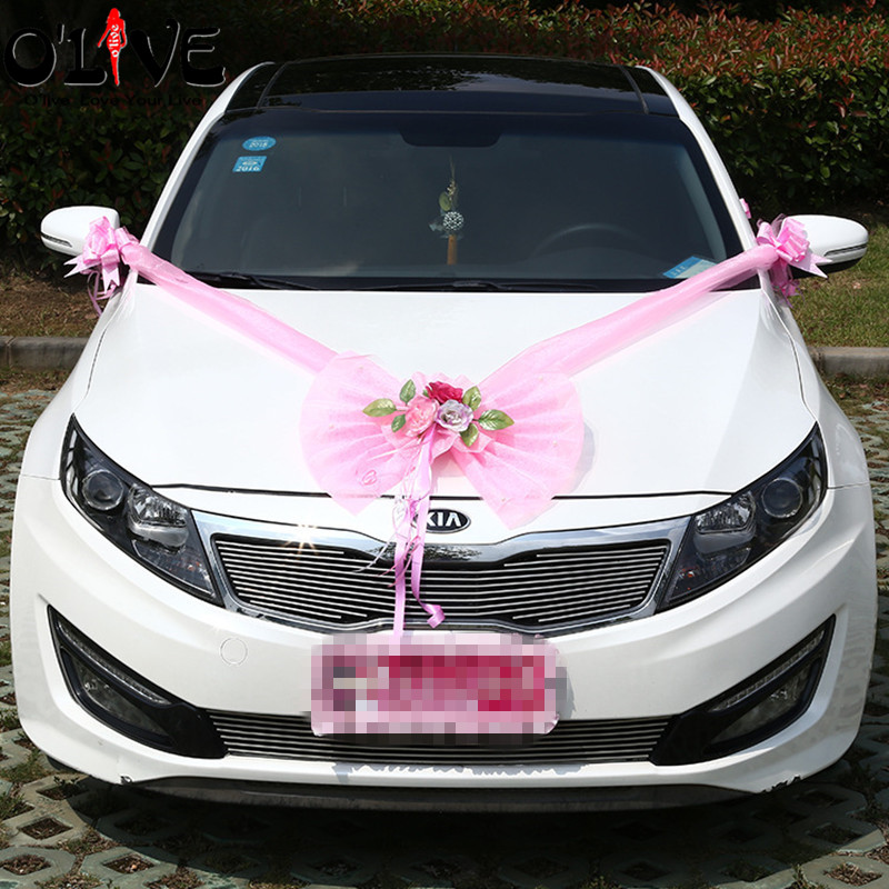 Wedding decoration car artificial flowers tulle bow decorative wedding decoration car artificial flowers tulle bow decorative flower wreath garland diy wedding accessories car head flowers in artificial dried flowers junglespirit Gallery