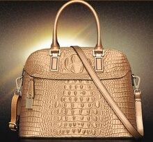 2016 Fashion women bag  genuine leather handbag embossing crocodile pattern design