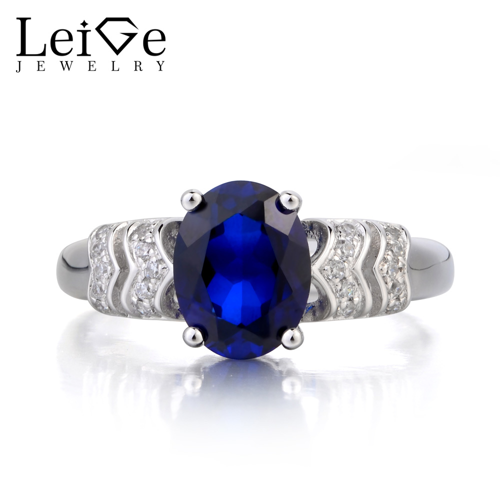 Leige Jewelry Anniversary Ring Blue Sapphire Ring September Birthstone Oval Cut Blue Gemstone 925 Sterling Silver Ring for Her gdstime 10 pcs dc 12v 14025 pc case cooling fan 140mm x 25mm 14cm 2 wire 2pin connector computer 140x140x25mm