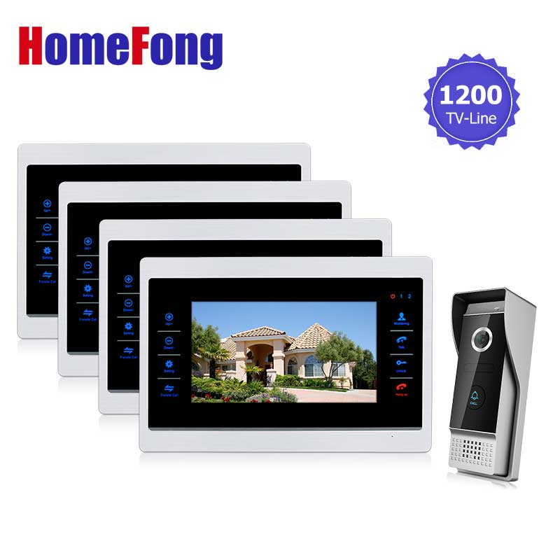Homefong 10  inch  TFT LCD Door Phone Video Doorbell System with Camera Wired Video  1200TVL 1V4 Home Apartment Entry Kit homefong villa wired night visual color video door phone doorbell intercom system 4 inch tft lcd monitor 800tvl camera handfree
