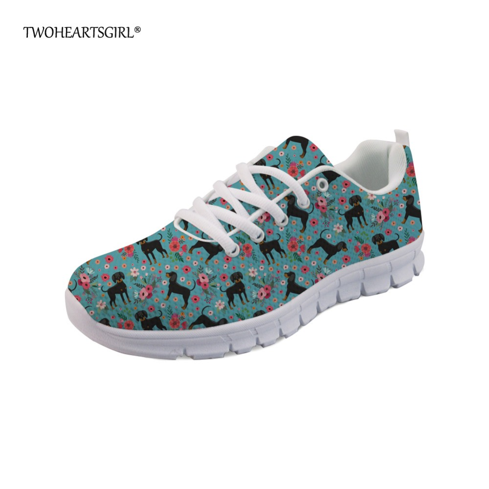 Twoheartsgirl Trend Fashion Coon Hound Sneakers Classic Women Teen Girls Mesh Walking Shoes Luxury Lace-up Ladies Flats