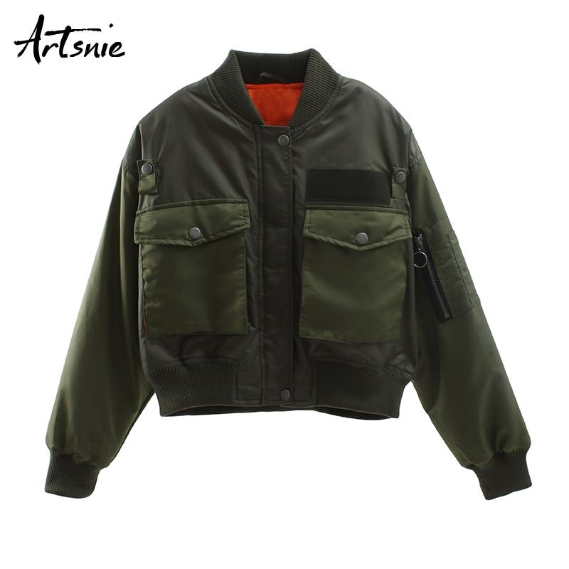 Image 4 - Artsnie double pockets army green bomber jacket women autumn  winter 2019 streetwear casual Basic coats jackets chaqueta  mujerJackets