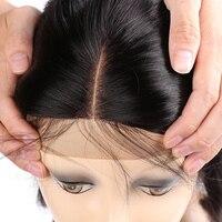 קטף מראש סגירת אמצע חלק שיער ישר ברזילאי סגר תחרה עם תינוק שיער אדם הלא רמי סגירת שיער יופי על קו