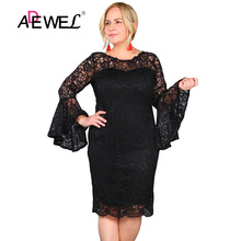 ADEWEL Sexy Black Flared Sleeve Flower Lace Party Dress Women Elegant Long Sleeves Knee Length Everning Gowns Plus size Dresses цены онлайн