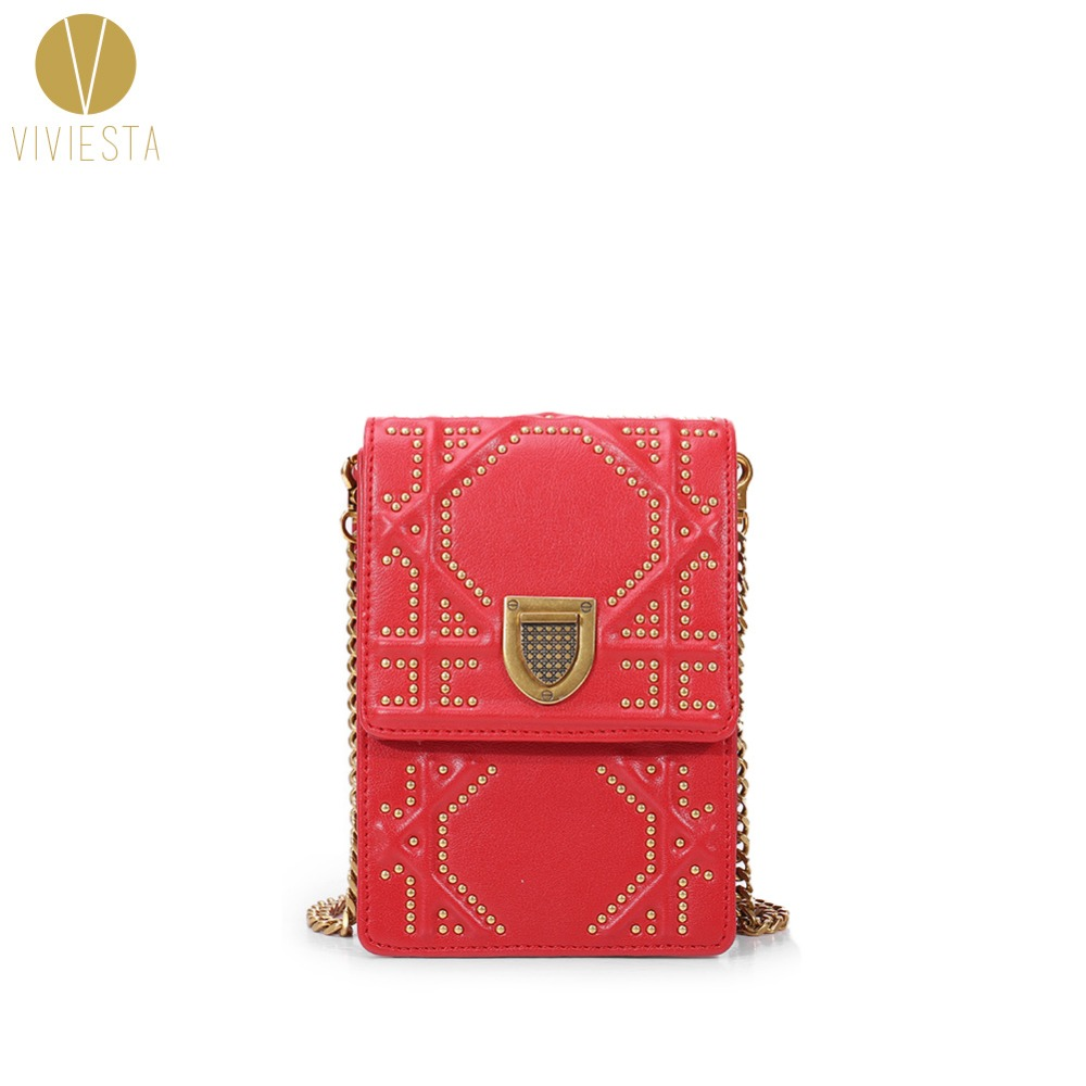GENUINE LEATHER QUILTED MINI STUD BAG - Women's 2018 New Famous Fashion Real Skin Small Phone Bag Chain Across Shoulder Handbag mini quilted luggage chain bag women s 2018 fashion designer quilting stitched plaided top handle shoulder bag purse handbag