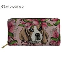 ELVISWORDS Wallets&Purse Women Beagles Pet Dog Print Cash Wallet Ladies Luxury Design Phone Holders for Females Clutch Money Bag