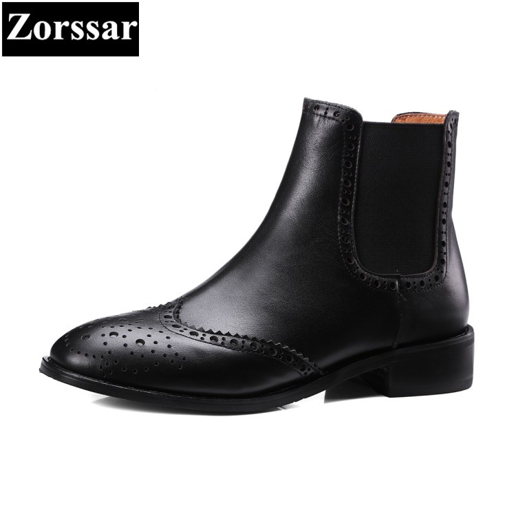 {Zorssar} Fashion British style flat heel Round Toe Genuine leather ankle Boots Leisure women Martin boots autumn women shoes front lace up casual ankle boots autumn vintage brown new booties flat genuine leather suede shoes round toe fall female fashion