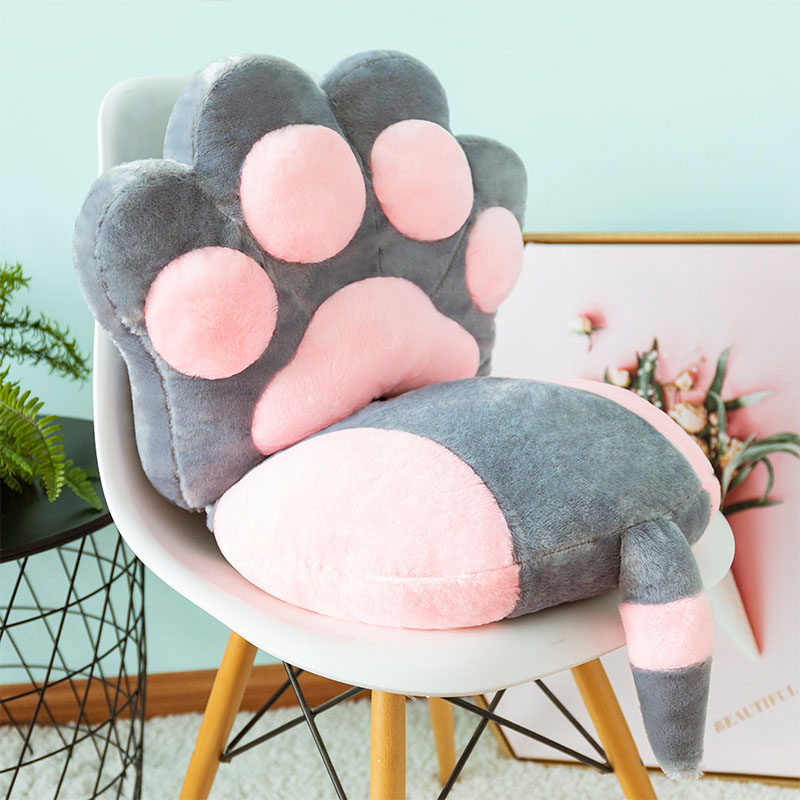 2pcs/set Cats Claw Back Cushion+Cats Tail Seat Cushion Kids Gift Plush Toy Home Chair Seat Cushion Sofa Throw Pillow Nap Pillow