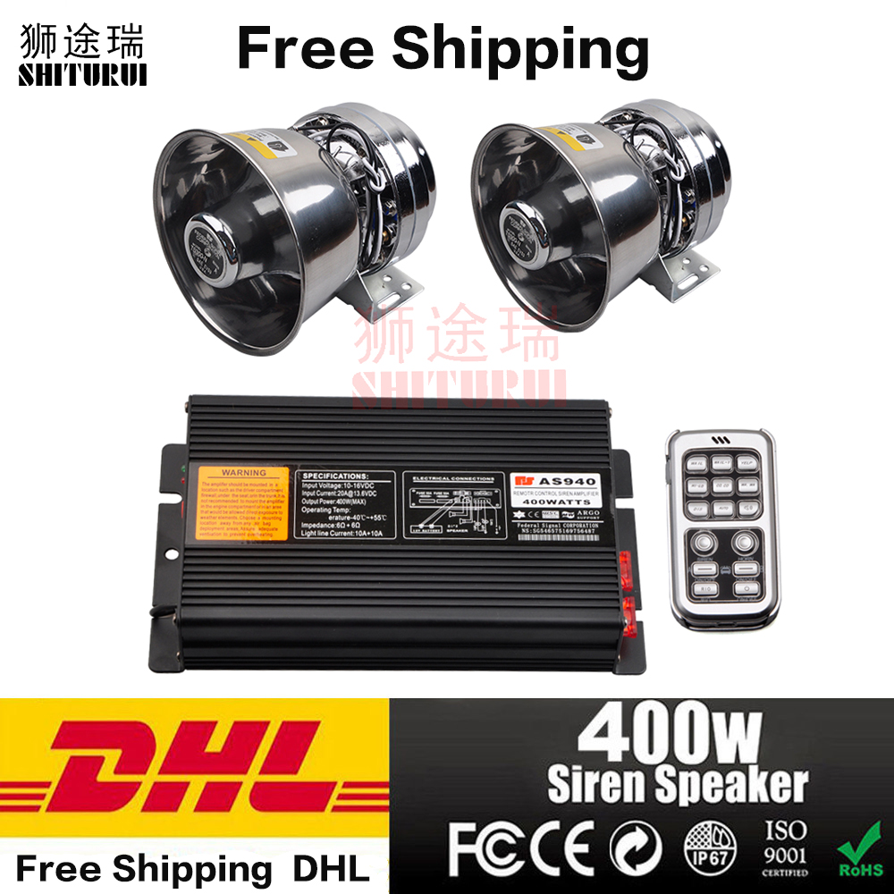 Free Shipping Police Siren 400W warning Alarm 8 Sound Double Wireless Remote Control Car Motorcycle horn