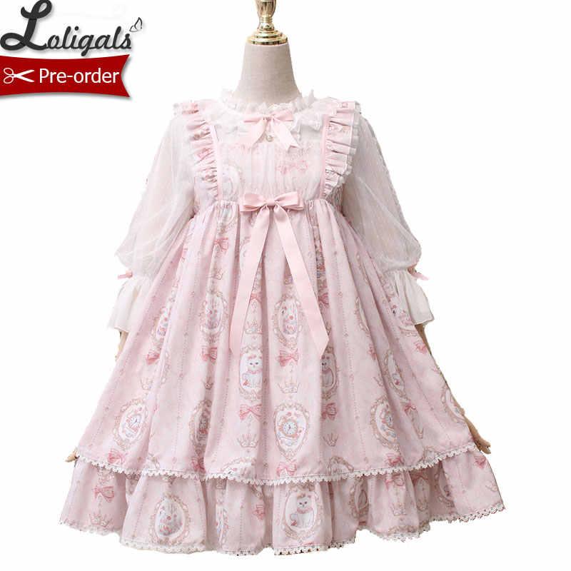 Gatinho no quadro sweet doce impresso cintura alta casual lolita vestido por alice girl pre pré-pedido
