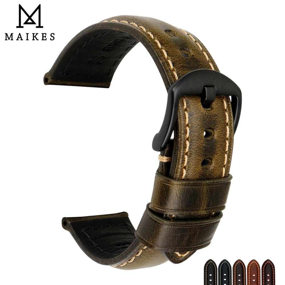 MAIKES Montre Bande Vintage Huile Cire Bracelet En Cuir 20mm 22mm 24mm 26mm Avec Boucle En Acier Inoxydable montre Bracelet Pour Panerai