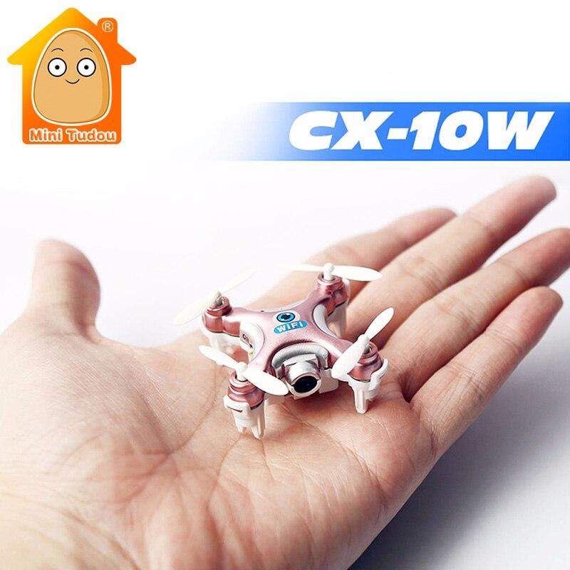 Minitudou Mini Remote Control Helicopter CX-10W CX-10W-TX RC Quadrocopter With FPV Camera Mini Drones