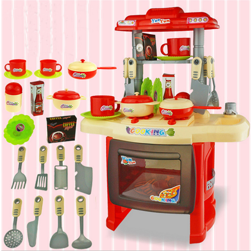 Childrens Toy Kitchen Cement Sink Miniature Children S Toys Utensils For Girls Kids Furniture Play Set Educational Doll House Cabinets Gift In From