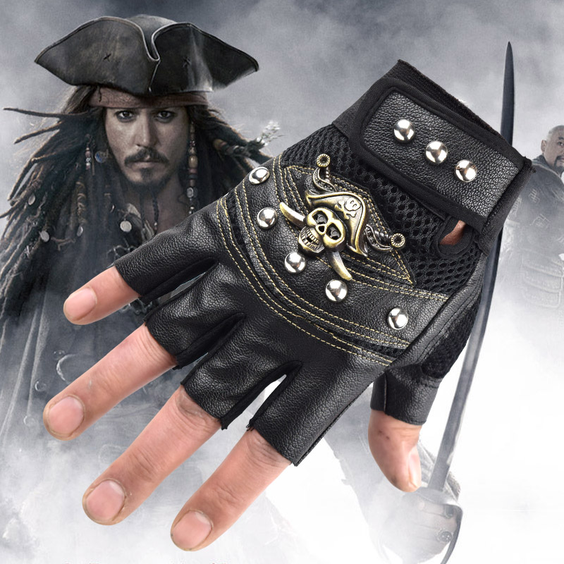 Pirates of the Caribbean theme gloves Sports Climbing Travel Cycling Racing Motorcycling gloves Skull head Half-finger gloves