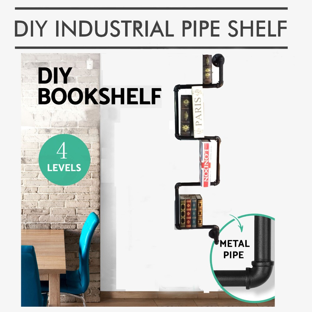 TOPOWER Home Decor Industrial Furniture Retro Style DIY Pipe Shelf Wall Mount Bookshelf Storage hearth