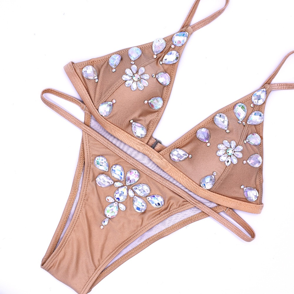 Handmade royal bikini Diamond Swimsuit Crystal women swimwear nude bikinis brazilian rhinestone beachwear push up thong 2018 кольцо royal diamond