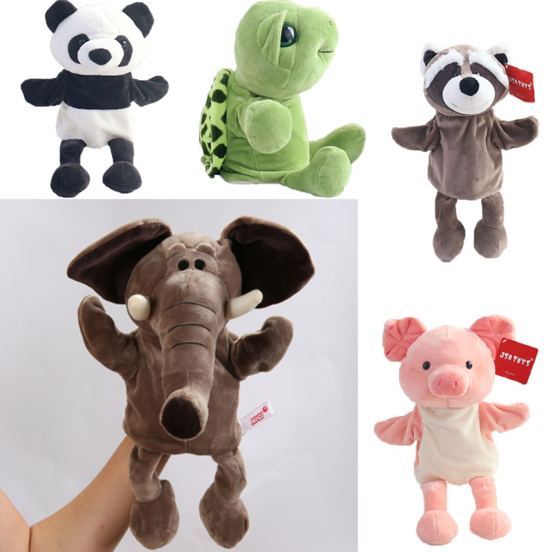 Animal Hand Puppet Cute Cartoon Elephant Plush Toys Doll Parent-Child Game Kindergarten Story-telling Props Finger Doll Baby Toy