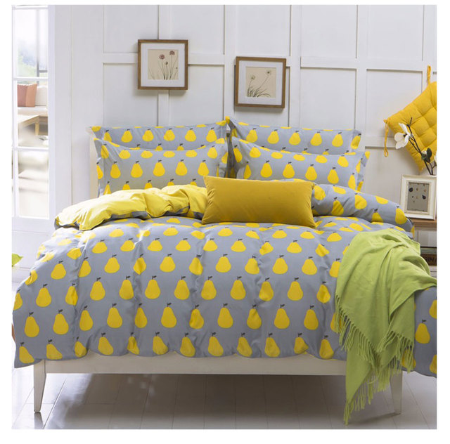 01d7c61f385 Yellow Pear Duvet Cover Set Pattern of Fruit Bedding Set Twin Full Queen  King Active Printing Bed Linen 4pcs Bedclothes