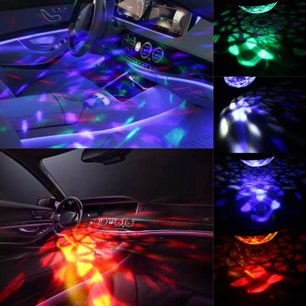Car Music Rhythm LED Flash Light Mini RGB Crystal Magic Ball DJ Atmosphere Lamp USB Sound Control 3/6 Auto Interior Decor Light mini rgb led party disco club dj light crystal magic ball effect stage lighting