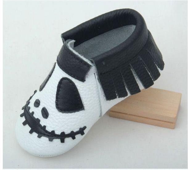 Novos estilos de Halloween bebê menina sapatos Primeiro Walkers Criança do bebê mocassins de Couro Genuíno Aberto a reserva frete grátis