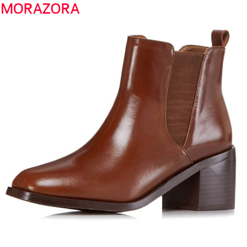 MORAZORA 2018 top quality genuine leather boots square toe ankle boots slip on short plush autumn winter boots women black morazora 2018 top quality genuine leather boots round toe short plush autumn winter ankle boots for women zip square heel shoes