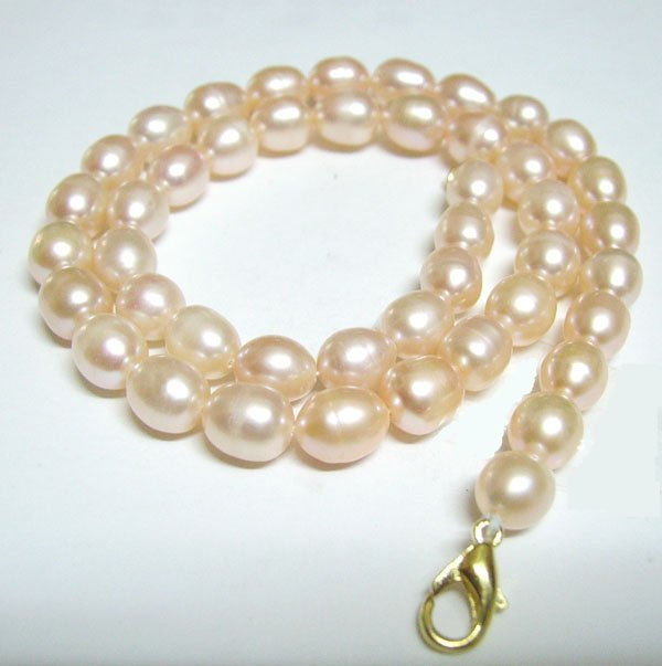 Free Shipping 10pcs/lot Pink Rice Freshwater Pearl Fashion Necklace Lobster Clasp 7-8mm 16inch P2*
