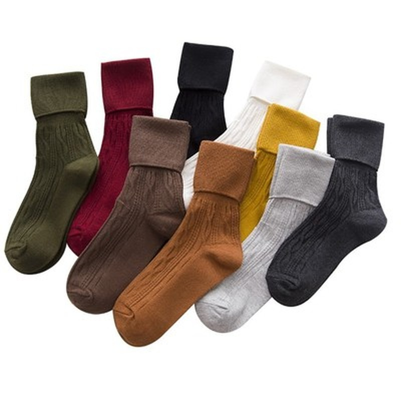 Solid Color Casual Fashion Women Warm Thick High Socks Dress Socks Pile Heap Crew Socks