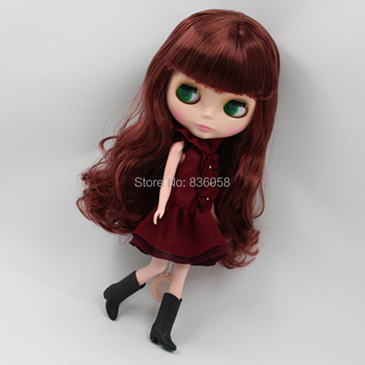 Dolls Discreet Factory Blyth Doll Bl9158/12532 Wine Red Hair With Bangs Normal Body Gift Toy Moderate Cost
