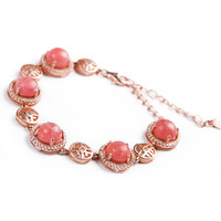 2018 Newly Natural Red Ice Rhodochrosite Stone Round Beads Beautiful Women Sliver Bracelet Unique Crystal Stone Bracelet