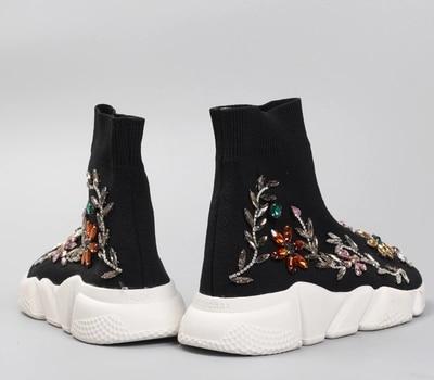 Mano Mujeres Estiramiento Diamante Para Altos Los Primavera Botas Ayudar Color Planos Las Calcetines A Zapatos Hecho Casua Con De Punto Cómodos 18 Nuevo azTqqH1