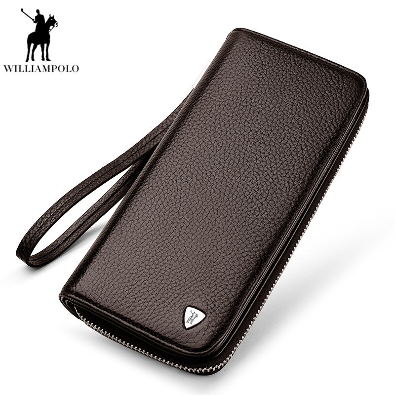 2018 Men Wallets Real Leather Purse Mens Clutch Wallet Business Carteras Walet Cow Leather Long Wallet Male portemonnee PL131